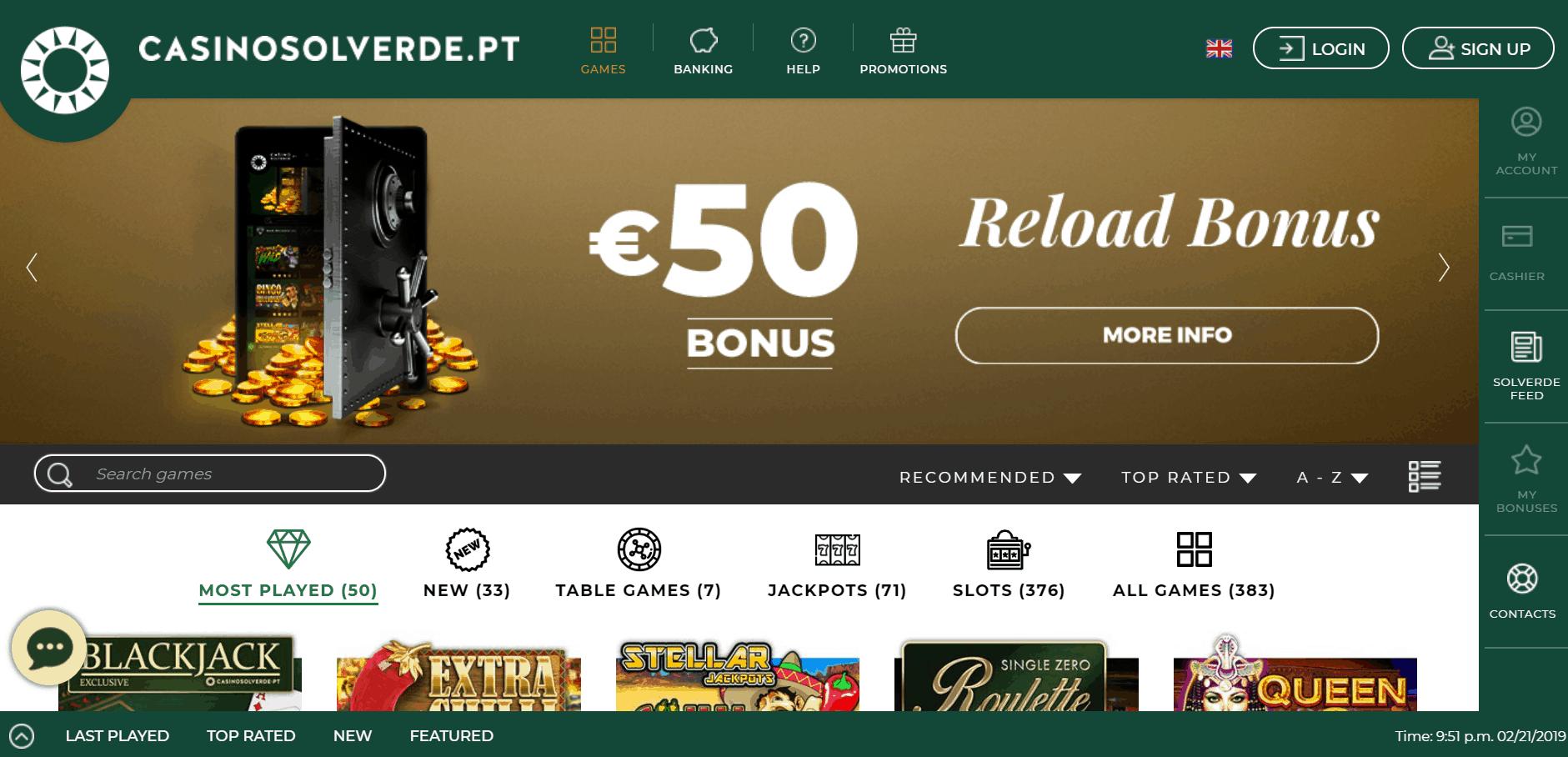 Casino Solverde desktop