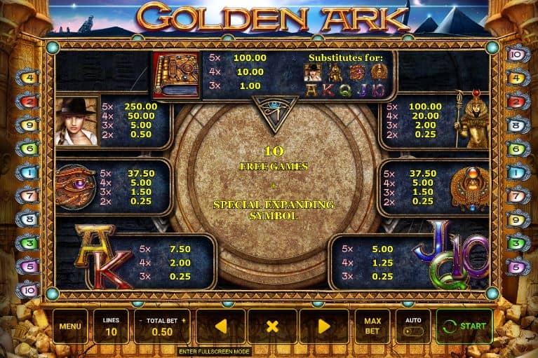 tabela de pagamento de Golden Ark